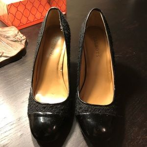 Talbots Black Sparkle Tweed and Patent Pumps